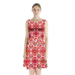 Plaid Red Star Flower Floral Fabric Sleeveless Waist Tie Chiffon Dress
