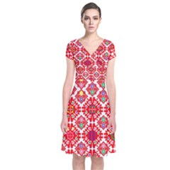 Plaid Red Star Flower Floral Fabric Short Sleeve Front Wrap Dress