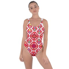 Plaid Red Star Flower Floral Fabric Bring Sexy Back Swimsuit