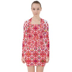 Plaid Red Star Flower Floral Fabric V Neck Bodycon Long Sleeve Dress