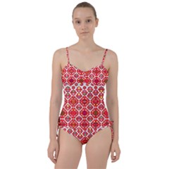 Plaid Red Star Flower Floral Fabric Sweetheart Tankini Set