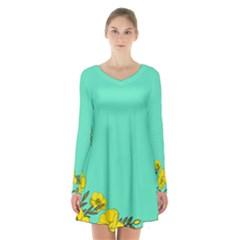 A New Day Long Sleeve Velvet V Neck Dress