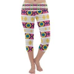 Rhombus And Stripes                             Capri Yoga Leggings