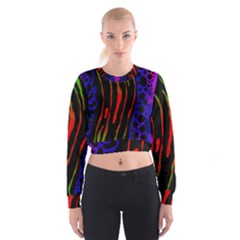 Frog Spectrum Polka Line Wave Rainbow Cropped Sweatshirt