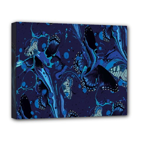 Pattern Butterfly Blue Stone Deluxe Canvas 20  X 16
