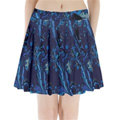 Pattern Butterfly Blue Stone Pleated Mini Skirt