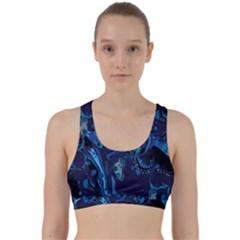 Pattern Butterfly Blue Stone Back Weave Sports Bra