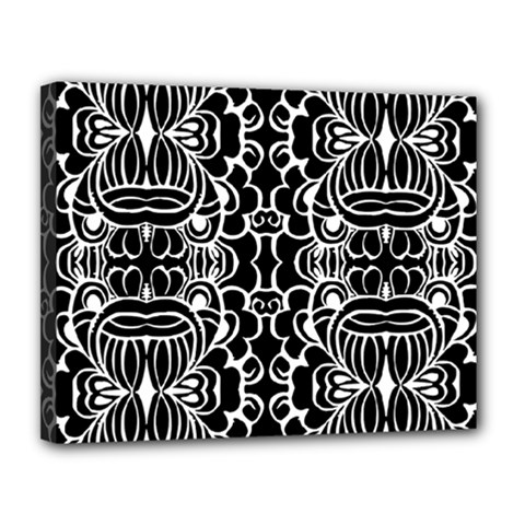 Psychedelic Pattern Flower Black Canvas 14  X 11