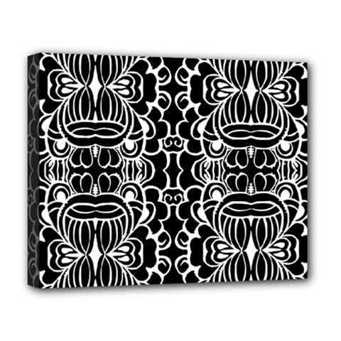 Psychedelic Pattern Flower Black Deluxe Canvas 20  X 16