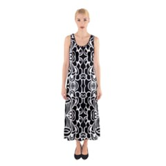 Psychedelic Pattern Flower Black Sleeveless Maxi Dress