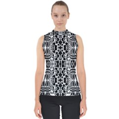 Psychedelic Pattern Flower Black Shell Top