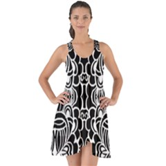 Psychedelic Pattern Flower Black Show Some Back Chiffon Dress