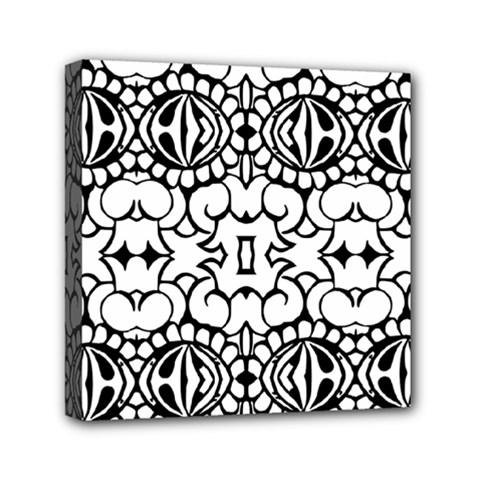 Psychedelic Pattern Flower Crown Black Flower Mini Canvas 6  X 6