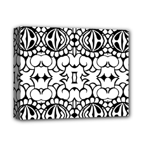 Psychedelic Pattern Flower Crown Black Flower Deluxe Canvas 14  X 11
