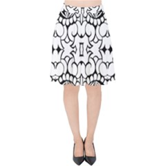 Psychedelic Pattern Flower Crown Black Flower Velvet High Waist Skirt