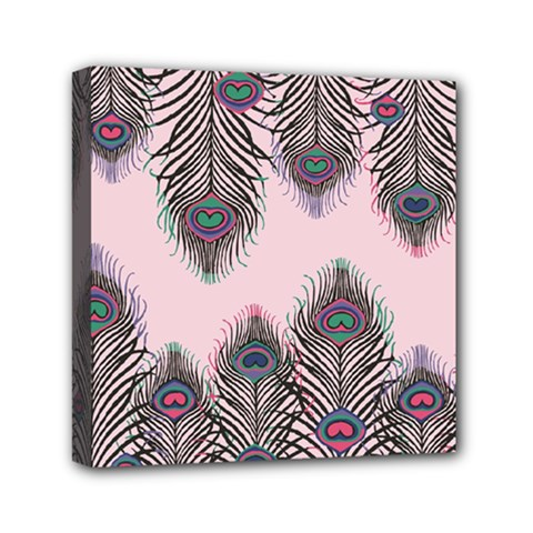 Peacock Feather Pattern Pink Love Heart Mini Canvas 6  X 6