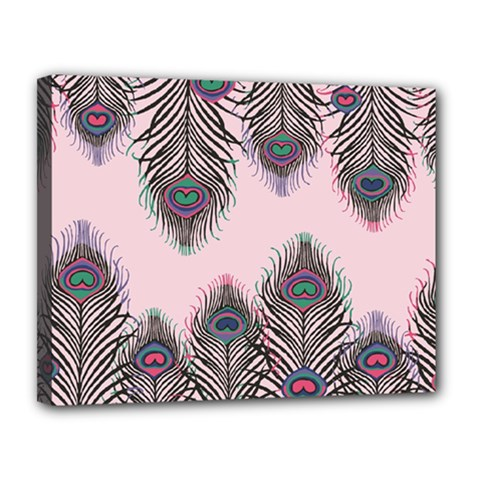 Peacock Feather Pattern Pink Love Heart Canvas 14  X 11