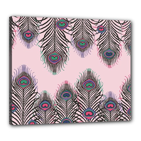 Peacock Feather Pattern Pink Love Heart Canvas 24  X 20
