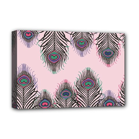 Peacock Feather Pattern Pink Love Heart Deluxe Canvas 18  X 12
