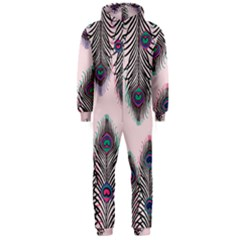 Peacock Feather Pattern Pink Love Heart Hooded Jumpsuit (men)