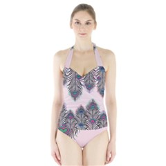 Peacock Feather Pattern Pink Love Heart Halter Swimsuit