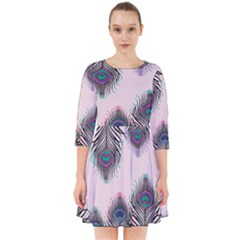 Peacock Feather Pattern Pink Love Heart Smock Dress