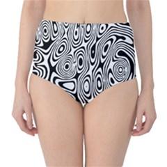 Psychedelic Zebra Black White High Waist Bikini Bottoms