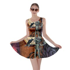 Funny Mummy With Skulls, Crow And Pumpkin Skater Dress