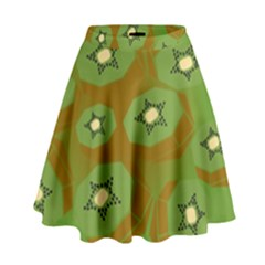 Relativity Pattern Moon Star Polka Dots Green Space High Waist Skirt