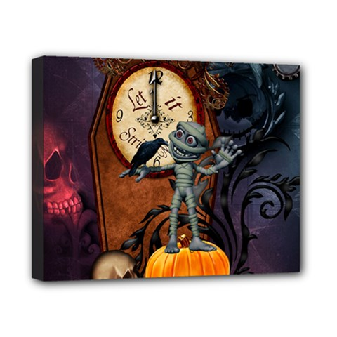 Funny Mummy With Skulls, Crow And Pumpkin Canvas 10  X 8