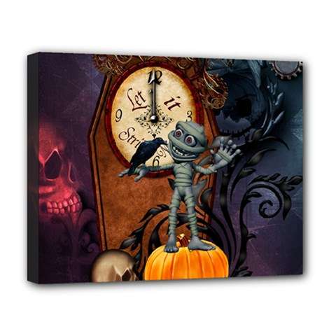 Funny Mummy With Skulls, Crow And Pumpkin Deluxe Canvas 20  X 16