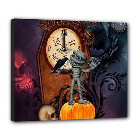 Funny Mummy With Skulls, Crow And Pumpkin Deluxe Canvas 24  X 20