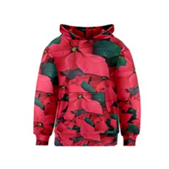 Red Poinsettia Flower Kids  Pullover Hoodie