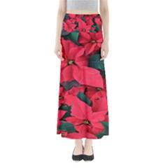 Red Poinsettia Flower Full Length Maxi Skirt