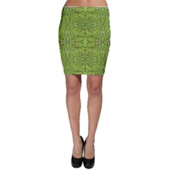 Digital Nature Collage Pattern Bodycon Skirt
