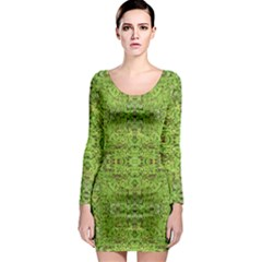 Digital Nature Collage Pattern Long Sleeve Bodycon Dress
