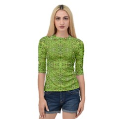 Digital Nature Collage Pattern Quarter Sleeve Raglan Tee