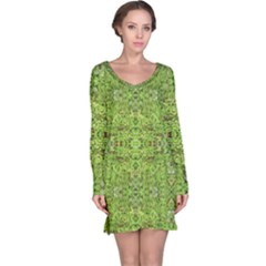 Digital Nature Collage Pattern Long Sleeve Nightdress