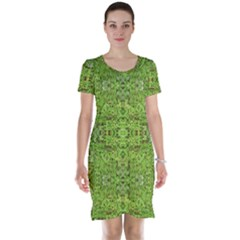 Digital Nature Collage Pattern Short Sleeve Nightdress