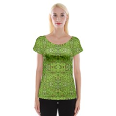 Digital Nature Collage Pattern Cap Sleeve Tops