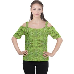 Digital Nature Collage Pattern Cutout Shoulder Tee