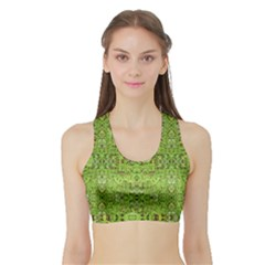 Digital Nature Collage Pattern Sports Bra With Border