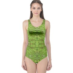 Digital Nature Collage Pattern One Piece Swimsuit