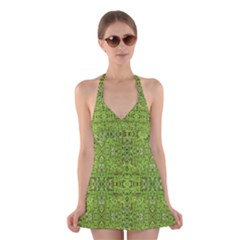 Digital Nature Collage Pattern Halter Swimsuit Dress