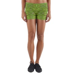 Digital Nature Collage Pattern Yoga Shorts