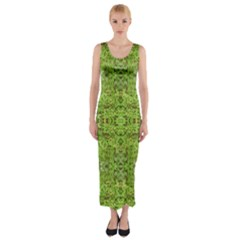 Digital Nature Collage Pattern Fitted Maxi Dress