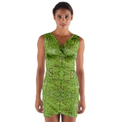 Digital Nature Collage Pattern Wrap Front Bodycon Dress