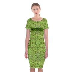 Digital Nature Collage Pattern Classic Short Sleeve Midi Dress