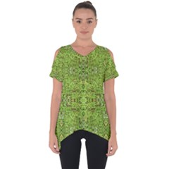 Digital Nature Collage Pattern Cut Out Side Drop Tee
