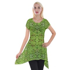 Digital Nature Collage Pattern Short Sleeve Side Drop Tunic